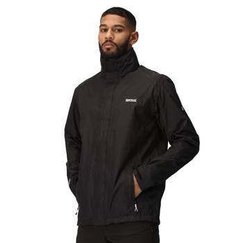 Regatta Men's Matt Lightweight Waterproof Jacket with Concealed Hood Black