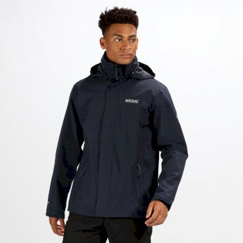 Regatta Men's Matt Lightweight Waterproof Jacket with Concealed Hood Navy