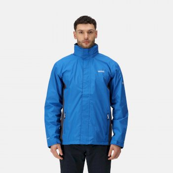 Men's Matt Lightweight Waterproof Jacket with Concealed Hood Oxford Blue Iron