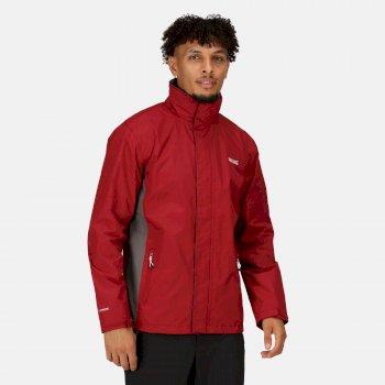 Regatta Men's Matt Lightweight Waterproof Jacket with Concealed Hood - Delhi Red Magnet Grey