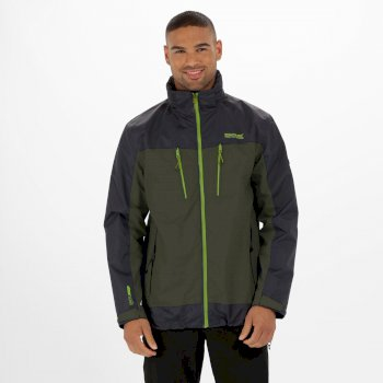 Regatta Calderdale II Waterproof Shell Jacket Racing Green Seal Grey
