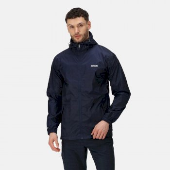 Regatta Men's Matt Lightweight Waterproof Walking Jacket with Concealed Hood - Navy