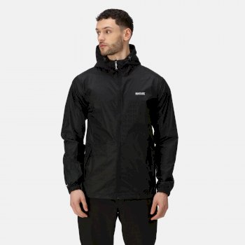 Regatta Men's Matt Lightweight Waterproof Walking Jacket with Concealed Hood - Black