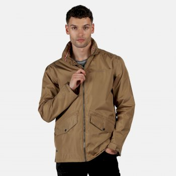Regatta Men's Hartigan Lightweight Waterproof Jacket with Concealed Hood Dark Camel