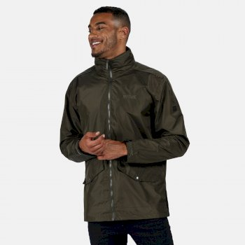 Regatta Men's Hartigan Lightweight Waterproof Jacket with Concealed Hood Dark Khaki