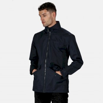 Regatta Men's Hartigan Lightweight Waterproof Jacket with Concealed Hood Navy