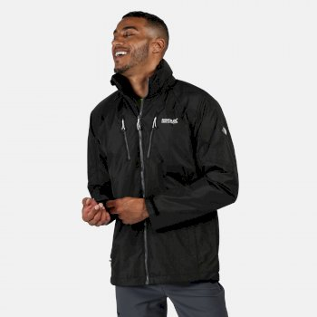 Regatta Men's Calderdale III Lightweight Waterproof Jacket with Concealed Hood Black