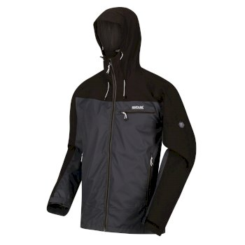 Regatta Men's Highton Stretch Waterproof Shell Hooded Walking Jacket - Ash Black