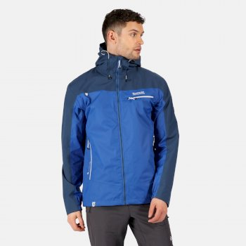 Regatta Men's Highton Stretch Waterproof Shell Hooded Walking Jacket - Nautical Blue Dark Denim