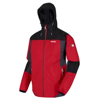 Regatta Men's Imber VI Lightweight Waterproof Shell Hooded Walking Jacket - Chinese Red Black