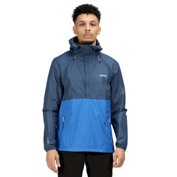 Regatta Men's Walfield Waterproof Shell Half Zip Hooded Walking Jacket - Dark Denim Nautical Blue