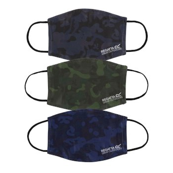 Regatta Adult's Face Covering 3 Pack - Black Navy