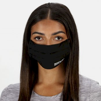 Regatta Adult's Triple Layer Face Covering 3 Pack - Black