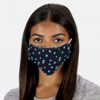 Regatta Adult's Triple Layer Face Covering 3 Pack - Navy Double Dot