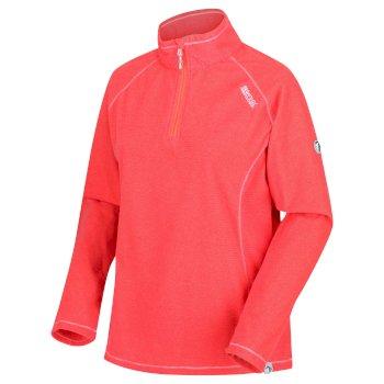 Montes - Damen Fleece-Sweatshirt - Reißverschluss - schmale Streifen Bright Blush