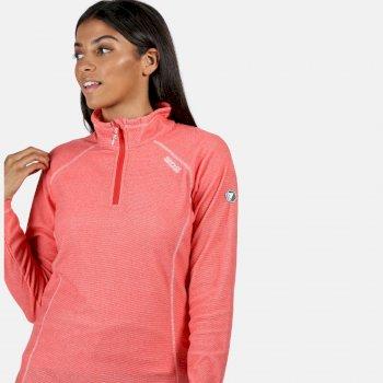 Montes - Damen Fleece-Sweatshirt - Reißverschluss - schmale Streifen Rot