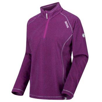 Regatta Women's Montes Lightweight Half-Zip Mini Stripe Fleece Vivid Viola