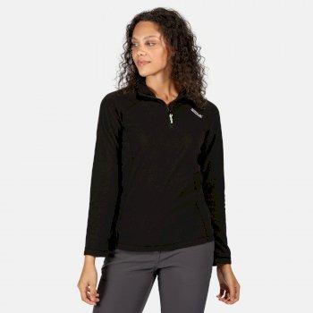 Montes - Damen Fleece-Sweatshirt - Reißverschluss - schmale Streifen Schwarz