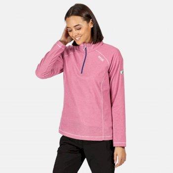 Montes - Damen Fleece-Sweatshirt - Reißverschluss - schmale Streifen Rosa
