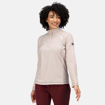 Montes - Damen Fleece-Sweatshirt - Reißverschluss - schmale Streifen Beige