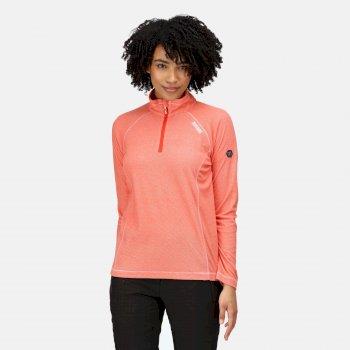 Montes - Damen Fleece-Sweatshirt - Reißverschluss - schmale Streifen Orange