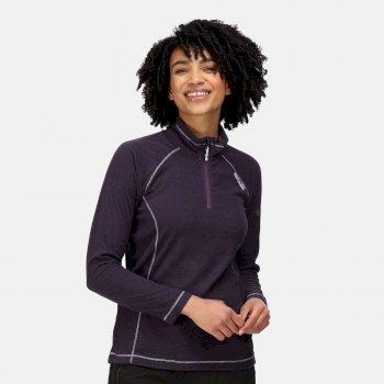 Montes - Damen Fleece-Sweatshirt - Reißverschluss - schmale Streifen Lila