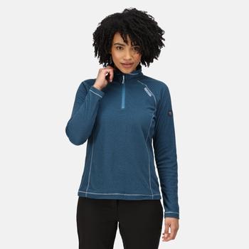 Montes - Damen Fleece-Sweatshirt - Reißverschluss - schmale Streifen Blau
