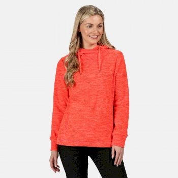 Kizmit II - Damen Fleece-Kapuzenpullover - meliert Orange