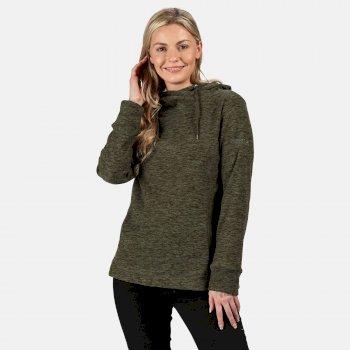 Kizmit II - Damen Fleece-Kapuzenpullover - meliert Grün