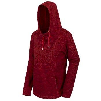 Kizmit II - Damen Fleece-Kapuzenpullover - meliert Delhi Red