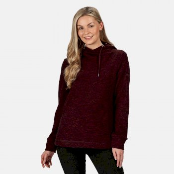 Kimberley Walsh Kizmit II Hooded Marl Fleece - Dark Burgundy
