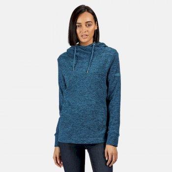 Kizmit II - Damen Fleece-Kapuzenpullover - meliert Blau