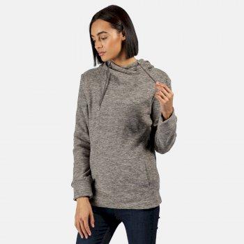 Kizmit II - Damen Fleece-Kapuzenpullover - meliert Grau