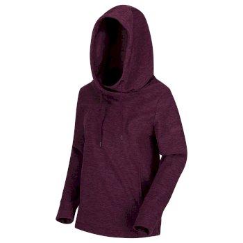 Kizmit II - Damen Fleece-Kapuzenpullover - meliert Prune