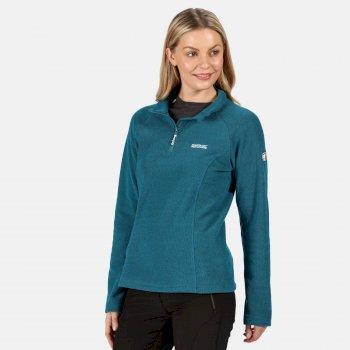 Kenger - Damen Fleecepullover - Wabenstruktur & Reißverschluss Blau