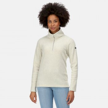Regatta Women's Solenne Mid Weight Half Zip Stripe Fleece - Light Vanilla