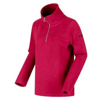 Solenne - Damen Fleece-Sweatshirt - halber Reißverschluss - Streifen Rosa