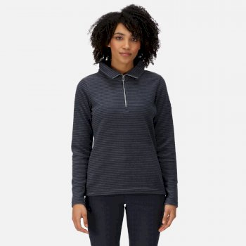 Regatta Women's Solenne Mid Weight Half Zip Stripe Fleece - Navy Silver