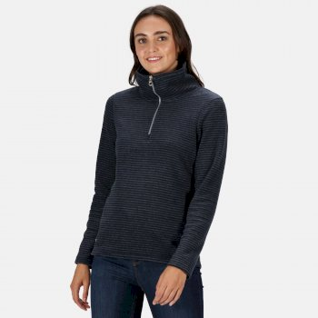Regatta Women's Solenne Half Zip Stripe Fleece - Navy