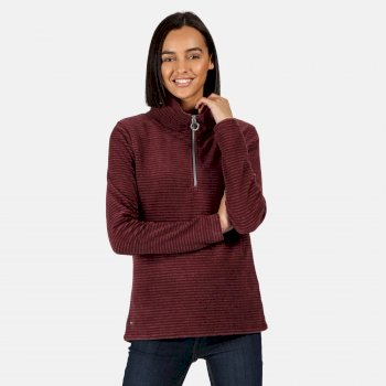 Kimberley Walsh Solenne Mid Weight Half Zip Stripe Fleece - Dark Burgundy
