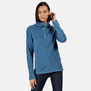 Solenne - Damen Fleece-Sweatshirt - halber Reißverschluss - Streifen Blau