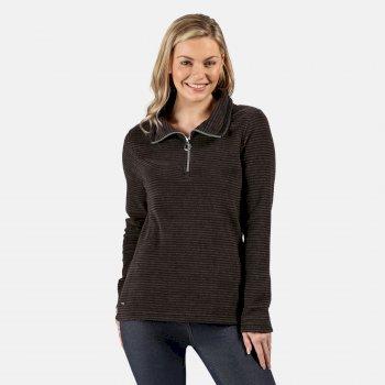 Solenne - Damen Fleece-Sweatshirt - halber Reißverschluss - Streifen Schwarz