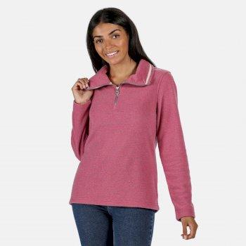 Solenne - Damen Fleece-Sweatshirt - halber Reißverschluss - Streifen Violett