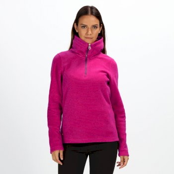 Regatta Women's Solenne Half-Zip Stripe Fleece Dark Cerise