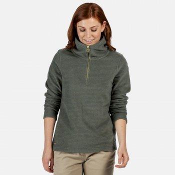 Solenne - Damen Fleece-Sweatshirt - halber Reißverschluss - Streifen Grün