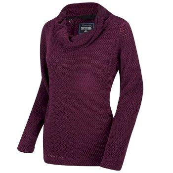 Quintia - Damen Fleece-Pullover - Wasserfallausschnitt Prune