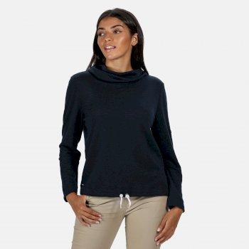 Harmonique Sweatshirt mit Wasserfallausschnitt für Damen Blau