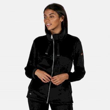 Odelia robustes Fleece mit durchgehendem Reißverschluss für Damen Schwarz
