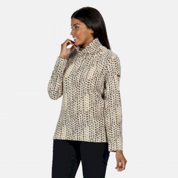 Leela leichtes, bedrucktes Fleece mit halblangem Reißverschluss für Damen Weiß
