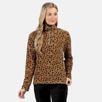 Leela leichtes, bedrucktes Fleece mit halblangem Reißverschluss für Damen Braun